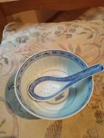 Kínai kis tányér porcelán kanállal