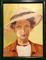 Keretezett portré - olajfestmény