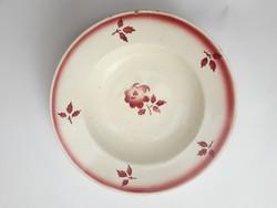 Gránit Kispest virágos kisebb mélytányér - gyermek tányér - népi, paraszti tányér