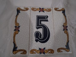 Kerámia - csempe - falra ragasztható számozott csempe, 12,5 x 11 cm