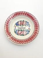 Festett népi fajansz falitányér - paraszt tányér falidísz Emlékül felirattal - Wilhelmsburg