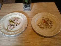 Angol Spode porcelán madaras majolika dísz tányérok