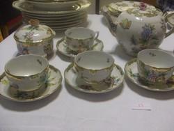 Herendi Viktória mintás teáskészlet 5 csészével