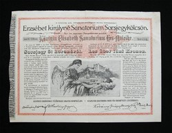 Erzsébet királyné Sanatorium Sorsjegykölcsön 5 korona 1904