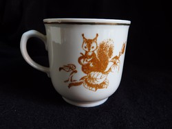 Mókusos szovjet/orosz porcelán bögre