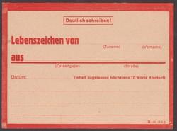 1944-45. Deutschland,  DR. Lebenszeichen Postkarte,
