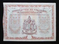 Hadsegítési és Népjóléti Nyereménykölcsön 40 korona 1917