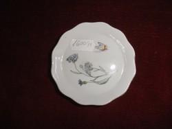 Aquincumi porcelán, mini ékszertartó. Búzavirággal, lepkével, arany széllel, hullámos szegéllyel.