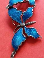 Kék lepkés ezüst nyaklánc