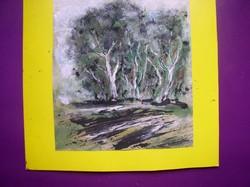 Fák- Gadányi aláírással- tus,akvarell, papír, kartonon, keret nélkül 16 x 14 cm.
