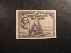 Spanyolország 100 peseta 1928 Cervantes Ritkább!