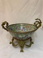 Kínai porcelán dísztál, XIX. sz.