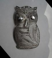 Nagy, ezüst filigrán bagoly bross, kitűző