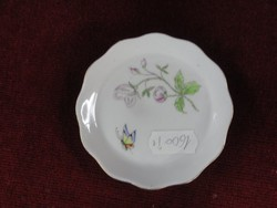 Aquincumi porcelán mini ékszertartó, őszirózsával, lepkével, átmérője 8 cm.