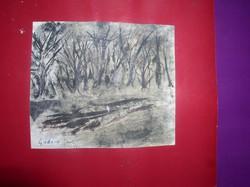 Erdő széle- Gadányi aláírással,  tus, akvarell, papír 13,5 x 16 cm, kartonra ragasztva, keret nélkül
