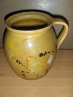 Antik mázas cserép szilke bögre korsó 17 cm (g-4)
