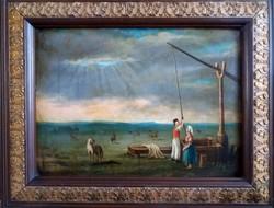 Antik festmény - Életkép - Tájkép - Hortobágy