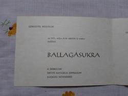 Ballagási meghívó - Debrecen, 1971 (Svetits Katolikus Gimnázium)