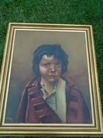 Kisfiú portré, régi jelzett olajfestmény