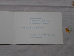 Ballagási meghívó - Orosháza, 1975 (Táncsics Mihály Gimnázium)
