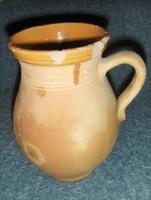Antik népi cserép korsó lekváros szilke 22,5 cm (g-2)