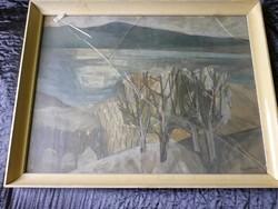 NAGY TIBOLD - VÍZPART - olaj / farost festmény képcsarnokos