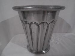 Fém - alumínium - nagyon vastag - kaspó - és vagy evőeszköz tartó - 11 x 11 cm - újszerű