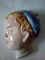 Kerámia fali fej hibátlan 17x16cm