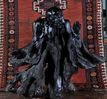 Kínai Varázsló vagy démon portréja, faszobor, 19. sz