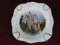 Reutter német  porcelán hamutál. Neuschwanstein felirattal aranyozott.