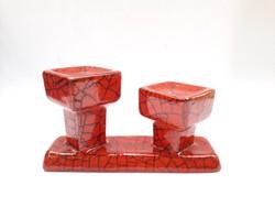 Retro iparművész kerámia gyertyatartó - ökörvérmáz piros színben ritka, Király stílusú
