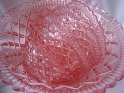 Rózsaszín üveg kompótos készlet