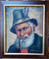 Pipázó, idős vadász portréja, hihetetlen kidolgozással, gyönyörű keretben ( 24 x 30, olaj, jelzett )