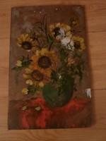 Sárga virágcsendélet, ismeretlen olaj-fa, j.n.