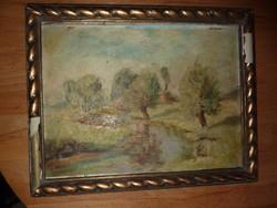 Zöldellő patakparti táj, régi olaj-karton, jelzett