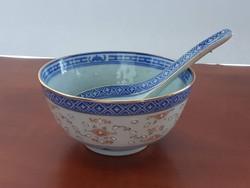 Aranyozott régi kínai porcelán tálka porcelán kanállal