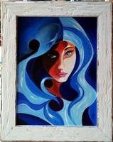 Czinóber - Portré ( 18 x 24, olaj, gyönyörű, fehér, antikolt keretben )