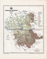 Komárom vármegye térkép 1895 (2), lexikon melléklet, Gönczy Pál, 23 x 29 cm, megye, Posner Károly