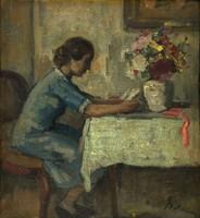"""Belányi Viktor ( 1877-1955 ) """" Olvasó nő, virágcsokorral..."""""""