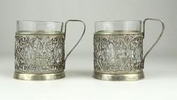 0X707 Régi ezüstözött filigránozott pohár pár