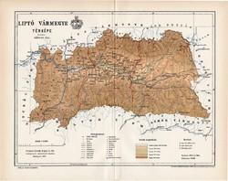 Liptó vármegye térkép 1897 (3), lexikon melléklet, Gönczy Pál, 23 x 30 cm, megye, Posner Károly