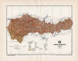 Kolozs vármegye térkép 1894 (4), lexikon melléklet, Gönczy Pál, 23 x 30 cm, megye, Posner Károly