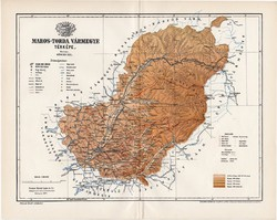 Maros - Torda vármegye térkép 1897 (3), lexikon melléklet, Gönczy Pál, 23 x 29 cm, megye, Posner K.