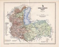 Sopron vármegye térkép 1897 (1), lexikon melléklet, Gönczy Pál, 23 x 29 cm, megye, Posner Károly