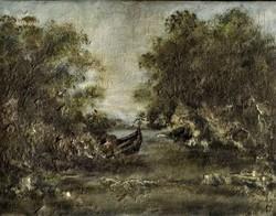 Elsüllyedt csónak egy öbölben- Olaj, deszka-18 x 23 cm, keret nélkül- Lehoczky József/ 1989