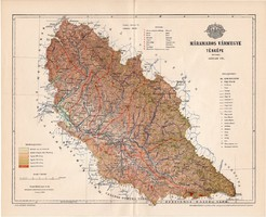 Máramaros vármegye térkép 1896 (3), lexikon melléklet, Gönczy Pál, 23 x 29 cm, megye, Posner Károly