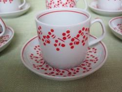 Hollóházi porcelán piros pöttyös kávés csésze kávéskészlet