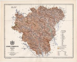 Sáros vármegye térkép 1897 (4), lexikon melléklet, Gönczy Pál, 23 x 29 cm, megye, Posner Károly