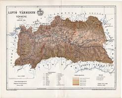 Liptó vármegye térkép 1895 (6), lexikon melléklet, Gönczy Pál, 23 x 29 cm, megye, Posner Károly