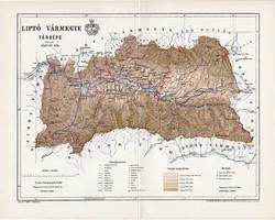 Liptó vármegye térkép 1895 (1), lexikon melléklet, Gönczy Pál, 23 x 30 cm, megye, Posner Károly